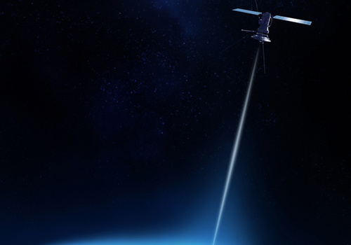 free space optical communications - satellite with a beam light pointing towards earth