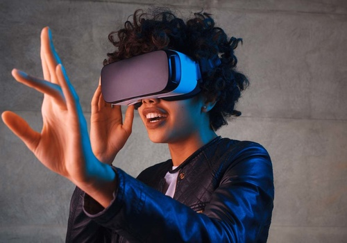 woman with a VR headset